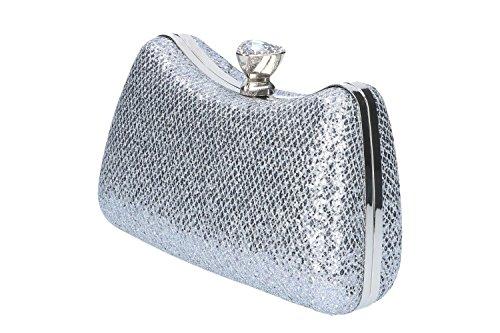 Bolsa mujer MICHELLE MOON pochette plata de mano de ceremonia + strass