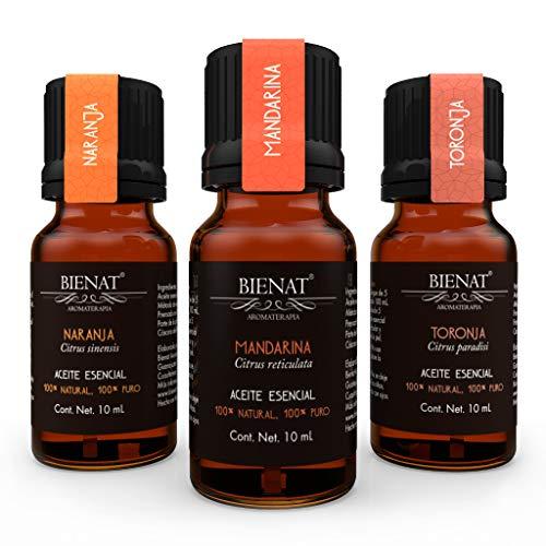 Bienat Aromaterapia Paquete 3 Aceites Esenciales Activación (Naranja, Mandarina y Toronja) 10mL