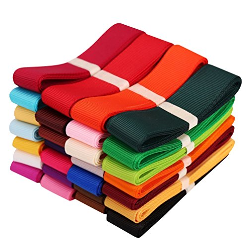 Laribbon Extreme Value 28 Solid Color Grosgrain Ribbons (1 Yard Each Color, 1'' Wide) (Color Fabric Ribbon)