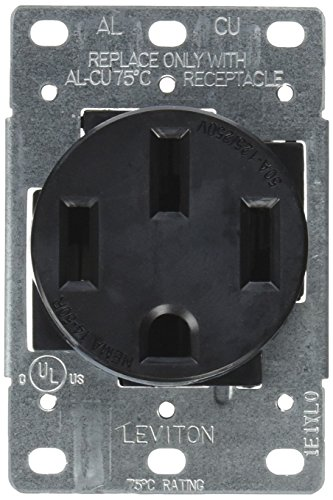 Leviton 279-S00 50 Amp, 125/250V, Nema 14-50R, 3P, 4W, Flush Mounting Receptacle, Straight Blade, Industrial Grade, Grounding, Side Wired, Steel Strap, Black (Receptacle Flush Range)