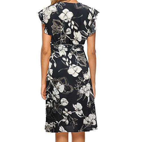 - LONGDAY Women Dress Summer Casual Pattern V-Neck Swing Skirt A-line Dress Ruffles Floral Flared Shirt Mini Dress Party Black