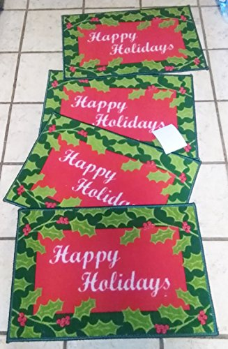 K Mart Happy Holidays 4  Holiday Accent Rugs For Outdoor 18 X 27