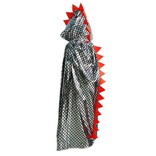 Youland Dinosaur Halloween Custome Cosplay Sequin Glitter Hoodied Cape for Boys Kids Girls Toddlers (2. Silver)