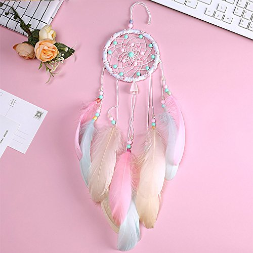 Tuscom Life Tree Handmade Large Dream Catcher with Pink Feather Luminous Pearl,Wall Hanging Home Decoration Hanging Ornament Gift Caught Dreams Unique Style (Diameter: 4.33in 21.65in Lang) (Pink)