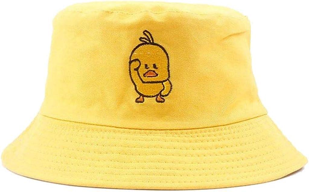 VIVICMW Unisex Duck Embroidered Bucket Hat Packable Fashion Fisherman Cap Summer Reversible Cap White