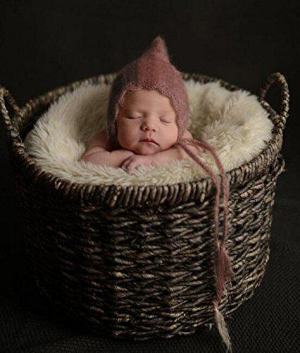 Brightmenyouth Newborn Mohair Bear Bonnet Knit Caps Baby Handmade Soft Bonnet Newborn Mohair Photography Caps Props