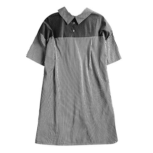 TUSANG Womens Tees Casual Plus Size Loose Button Sleeve Solid Tanic Shirt Blouse Comfy Tunic Tops(B-Black,US-18/CN-5XL)