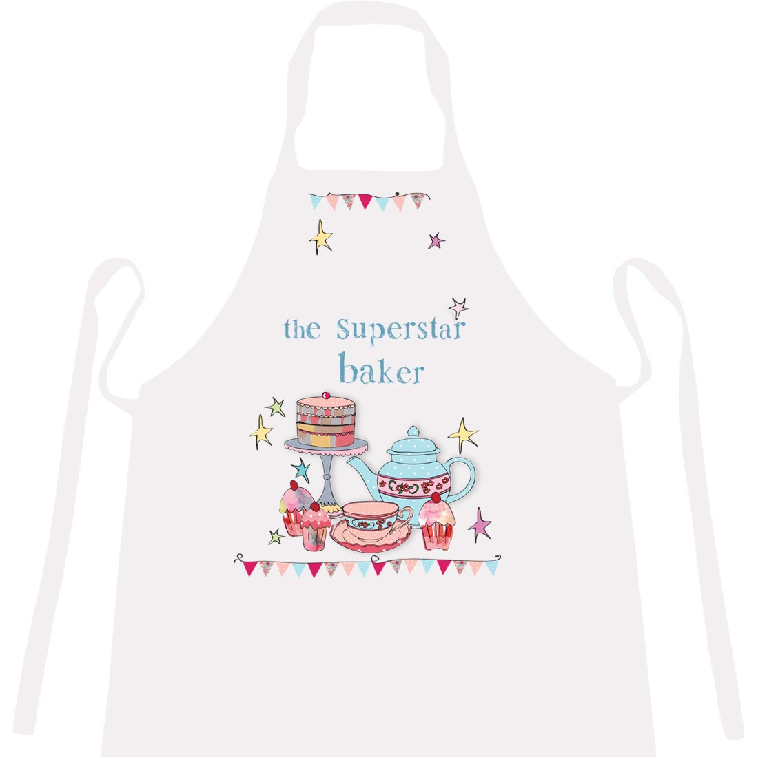 Cookify Personalised Apron 'Superstar Baker' – Novelty, Funny Aprons Men, Women Children (3-5 years 45cm x 37cm)