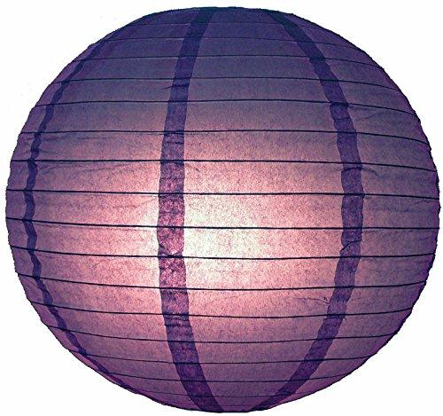 "Quasimoon 16"" Purple Even Ribbing Round Paper Lantern (10 PACK) by PaperLanternStore"