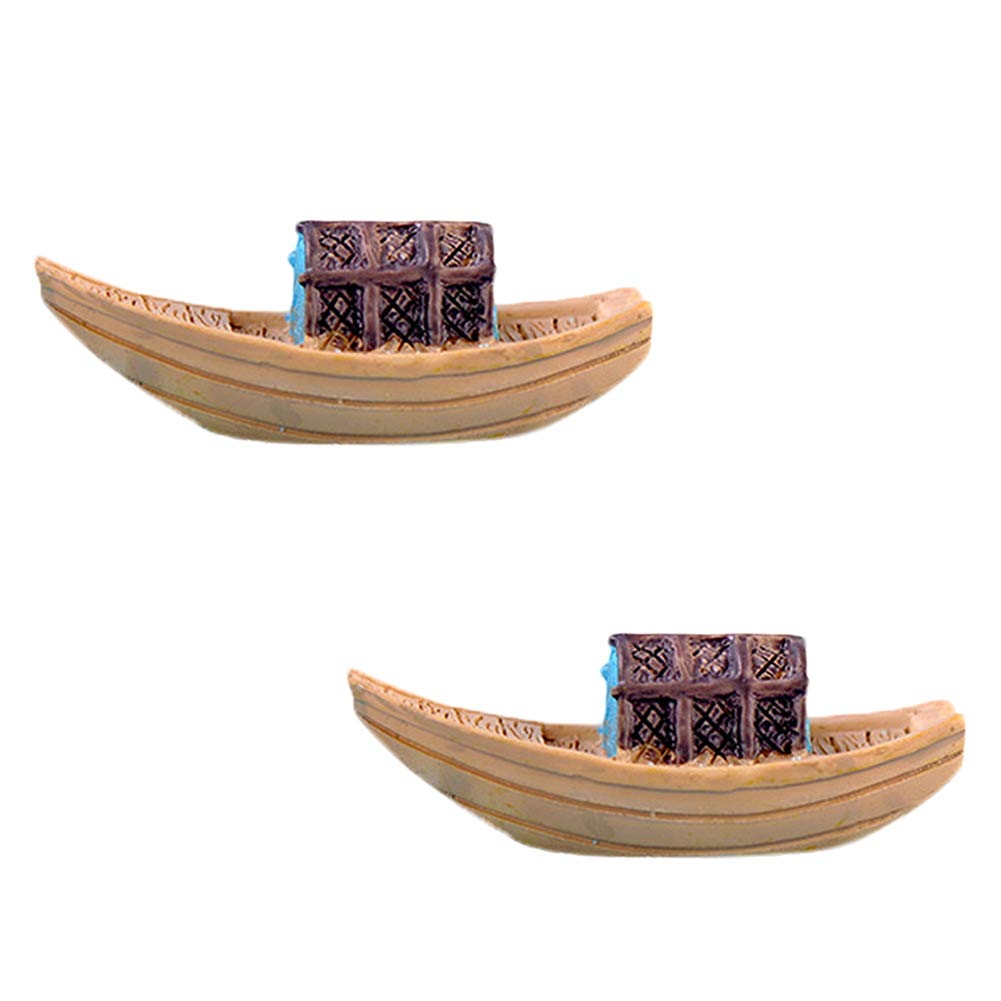 Cratone 2PCS Resin Toys Micro Landscape Miniature Fairy Garden Fishing Boat Black Awning DIY Gifts Home Furnishing Decoration (Black-Awning Boat)