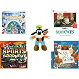"""Children's Gift Bundle - Ages 6-12 [5 Piece] - World of Disney Eye Found It Board Game - Ivory Cats 300 Piece Puzzle - Just Play Disney Junior Mickey Mouse Clubhouse Goofy Bean Bag Plush 9.5"""" - Amaz"""