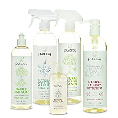 Puracy Natural Home Cleaning Essentials Set - Hand Soap, Dish Soap, Laundry Detergent, Multi-Surface Cleaner, Laundry Stain Remover Bundle - Pack of 5