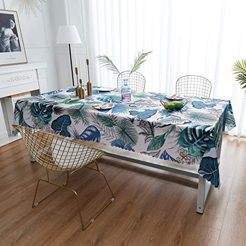 iLiveX Table Cloth, Original Design Hand Drawing Art Printed Tablecloth, Water-Proof Rectangle Table Cover, Kitchen Dining Indoor Outdoor Buffet Tabletop Decoration, 60″x102″ (Blue Tropical)
