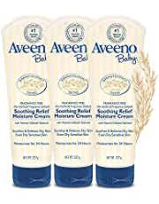 Aveeno Baby Soothing Relief Moisturizing Cream with Natural Oat Complex for Dry Sensitive Skin, Fragrance-free & Paraben-Free, (3 PACK 8oz)