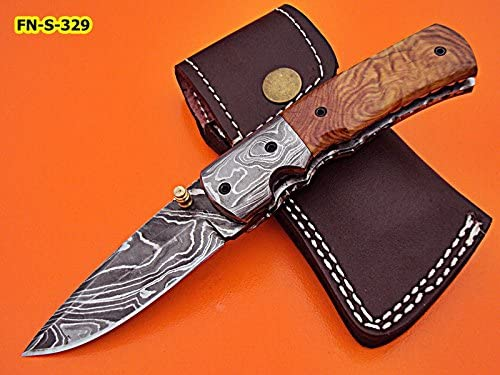 Poshland Knives FN-S-329, Handmade Damascus Steel Folding Knife Solid Olive Burrel Wood Handle with Damascus Steel Bolster