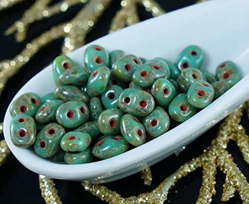 20g Picasso Turquoise Green Travertine Dark SUPERDUO Czech Glass Seed Beads Two Hole Super Duo 2.5mm x 5mm Apple Green Turquoise Beads