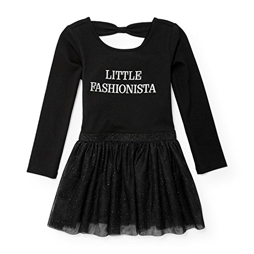 Dress Knit Together - The Children's Place Baby Little Girls' Bow Back Knit Dress, Black 88492, 2T