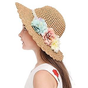 Bienvenu Girl Kids Summer Wide Brim Floppy Beach Sun Visor Hat with Flowers