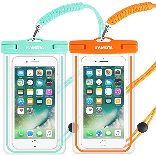 Waterproof Case, 2 PACK Glow in the Dark IPX8 Universal Waterproof Phone Pouch Cases Dry Bag with Military Lanyard for iPhone Samsung Google Pixel HTC LG Huawei (green orange)