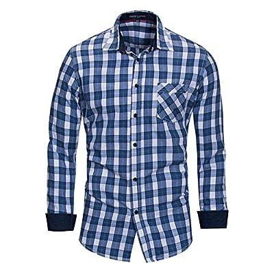 JJCat Men's Button-Down Collar Long Sleeve Plaids Design Cotton Classical Style Casual Dress Shirts