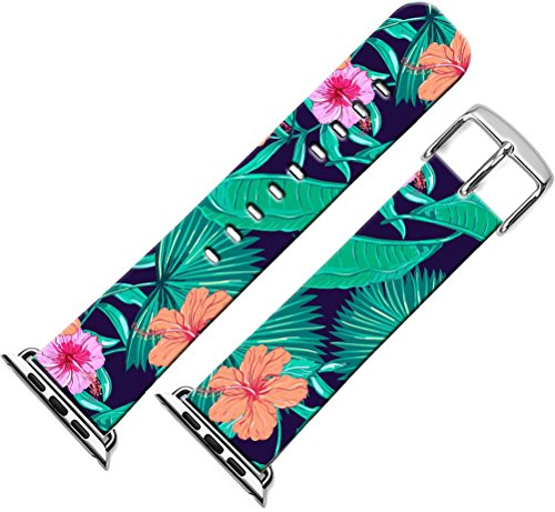 Bands for Iwatch & Cisland Compatible Leather Strap Replacement for Apple Watch Series 1/2/3 Small/Large + Green Leaf Hibiscus Flower