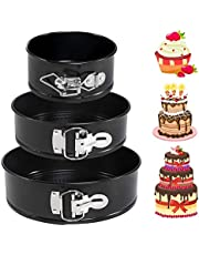 """LEADSTAR Non-Stick Cake Tins Set,3 Pcs(4""""/7""""/9"""") Spring Form Leakproof Bake Tray,Round Baking Cake Pan Mold for Mini Cheesecakes Pizzas Quiches with Removable Bottom for Birthday/Wedding/Home"""
