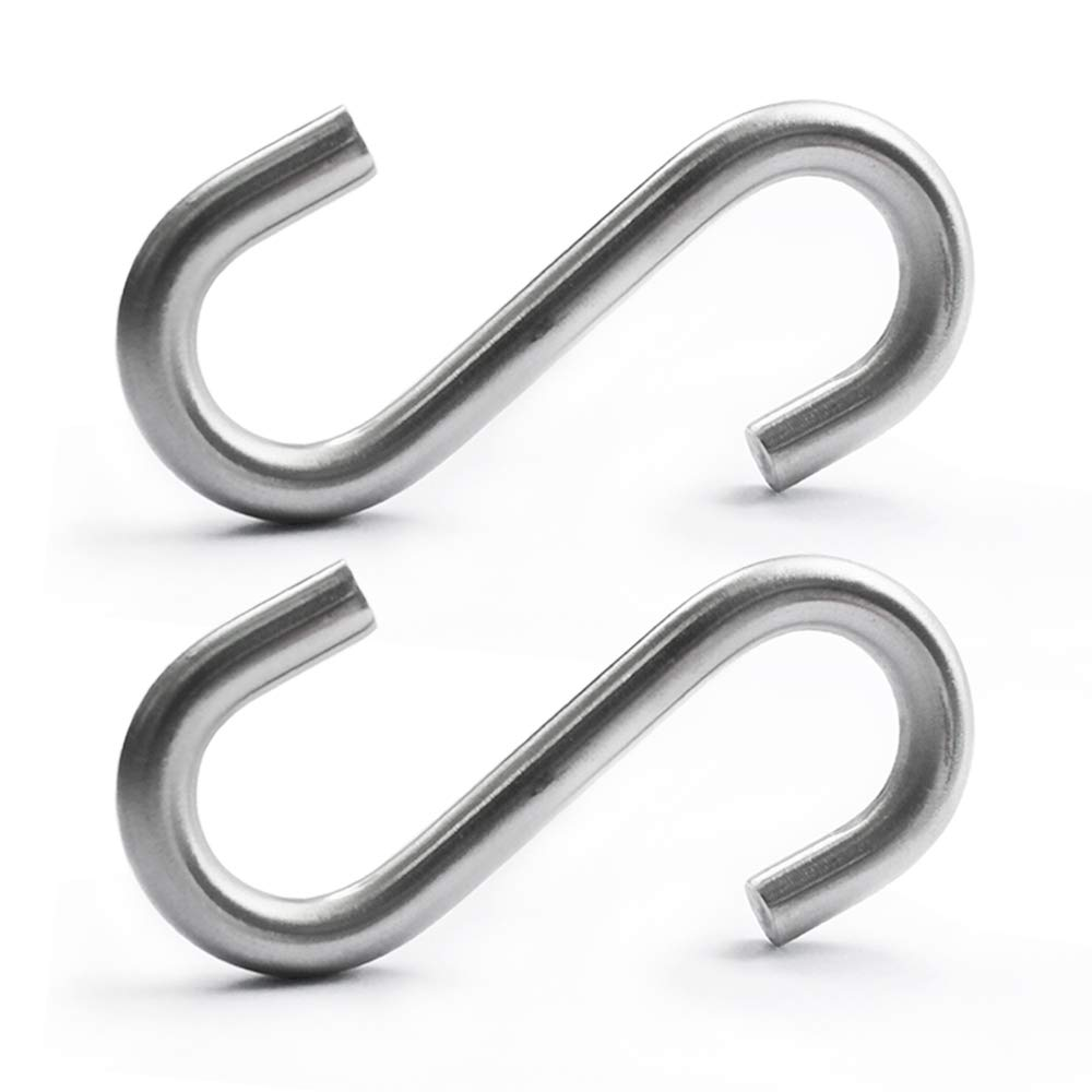 Spedtees Heavy-Duty S Shaped Hooks,Marine Grade 316 Stainless Steel 2.6 Inch Long 1//4 Inch Thickness Hammock S Hooks Galvanized Utility Hooks 4