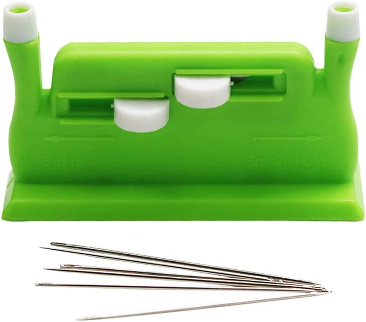 Meoliny Desk Needle Threader Automatic Needle Guide Sewing Machines Portable Lightweight Thick Fine Needles Sewing Tool,Green
