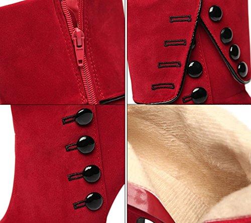Stivali Comodo Bottone Rosso Bassi A Alto Donna Liangxie Velluto In Corti tacco colore Zhhzz Tagliapili Tacco Alla Moda Da Scarpe Puro Cotone Sexy ROdOfBWq