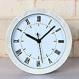 Piguyi Práctico Despertador Continental Retro Hacer Viejos Estilos Emulación Madera Reloj Despertador Verano-Escritorio Decoración del hogar, Sentado Jong-White