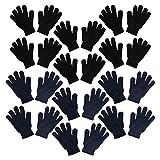 Set of 12 Warm Knit Gloves Unisex Lots of Styles - Dusty Navy Black