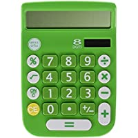 Office + Style 8 Digit Dual Powered Calculator with Large LCD Display, Green (Pack of 6)