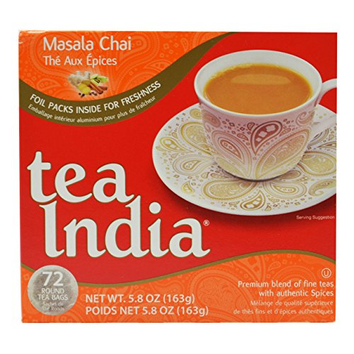 Tea India Masala Chai Tea, 72 Tagless Tea Bags, 5.8-Ounce Boxes (Pack of 6) by Tea India