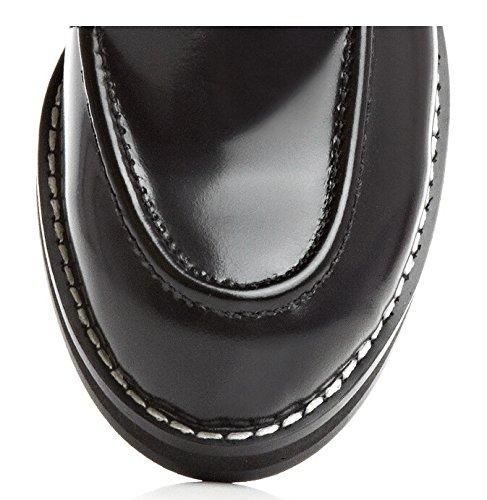 Cuir noir véritable moto femmes Bottes Bottines Chaussures d'équitation gladiateur Chaussons