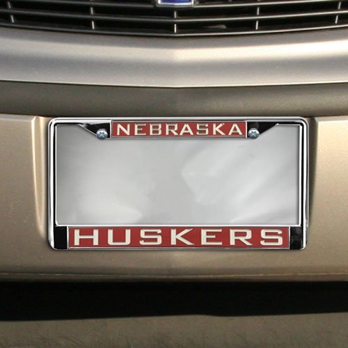 Huskers Chrome License Plate Frame (Economy Chrome Frame - NEBRASKA/HUSKERS-RED 03/SILVER 00)