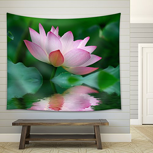 Close up of beatiful pink lotus Fabric Wall Tapestry