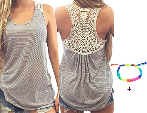 Gillberry Women Summer Lace Vest Top Short Sleeve Blouse Casual Tank Top T-Shirt (XL)