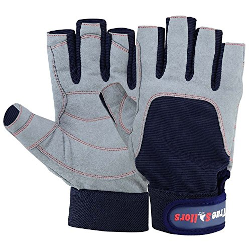 MRX BOXING & FITNESS Sailing Gloves with 3/4 Finger and Grip for Men and Women, Great for Kayaking, Workouts and More (Blue/Grey, XL)