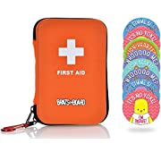 Compact Family Travel First Aid Kit 85-Piece Medical Supplies with BONUS Bravery Stickers for Car RV Accessories and Ideal for Hiking, Camping and Kids