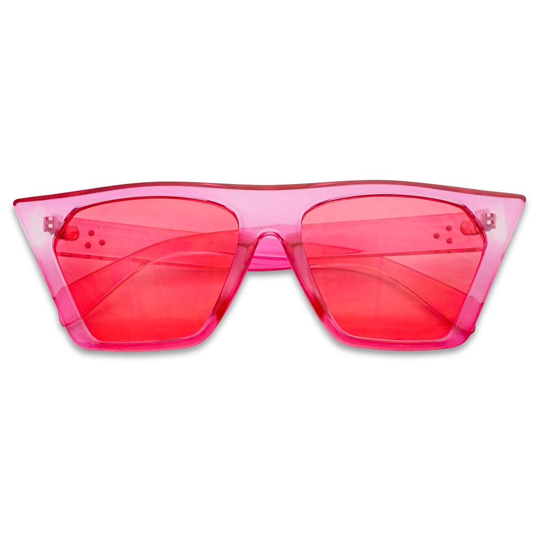 SunglassUP Super Flat Top Square Pointed Cat Eye Candy Colored Crystal Sunglasses Transparent Frame (Hot Pink | Pink) by SunglassUP