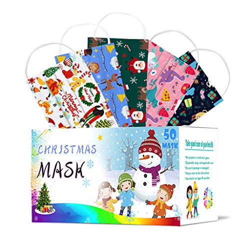 BiuBuy 3 Ply Non-Woven, 50Pcs Disposable Face Bandanas with Christmas Pattern, Breathable and Anti-Haze Dust, for Children Students Outdoor Back to School Supplies (Multicolor)
