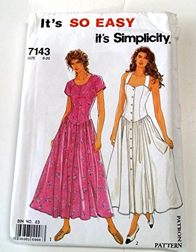 Simplicity 7143 Sewing Pattern - Misses' Dress in 2 Variations with Princess Seamed Bodice and Full Skirt Size 8-20