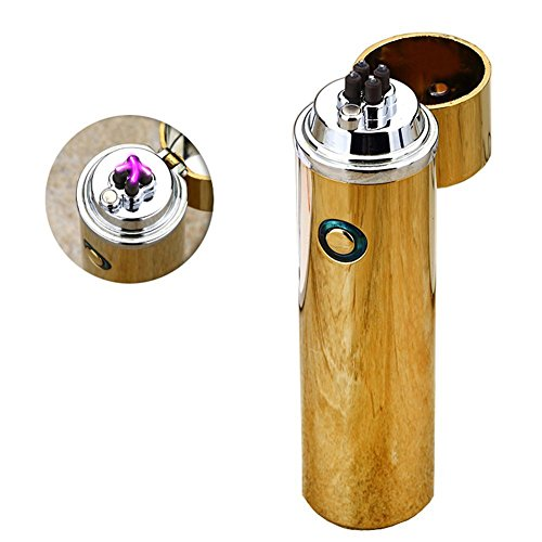 USB Rechargeable Flameless Plasma Arc Beam Lighter Fire Starter Oiikury Windproof Daul Arc Torch Lighter For Pipe Smokers (Gold)