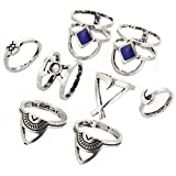 super1798 8 Pcs/Set Boho Ethnic Stacking Ring Hollow Carved Moon Above Knuckle Midi Ring - Silver