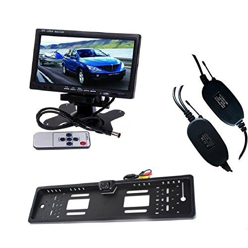 LARS360 Nummernschild Kamera Auto Fahrzeug Rückfahrkamera Backup Kamera 4 LED Nachtsicht mit 7 inch TFT Farb LCD Monitor Einparkhilfen Rückfahrkamera