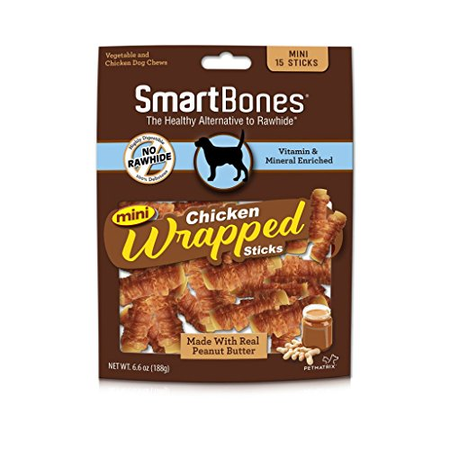 Smartbones Mini Chicken-Wrapped Sticks For Dogs With Real Peanut Butter, 15 -