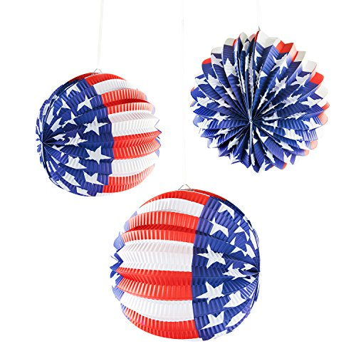 (Super Z Outlet Patriotic Hanging Paper Lanterns USA Patio Decoration American Flag July 4th Party (6 Pack))