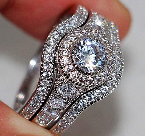 Weishu Couple Diamond Ring Series 0.33 Carat (ctw) Round White Diamond Men and Women Engaged Three-Piece Bridal Set 925 Sterling Silver (US Code 8)