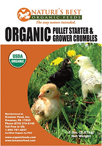 Natures Best Organic Feed 163355 Chick Starter and Grower Crumbles Feeder, 5 lb
