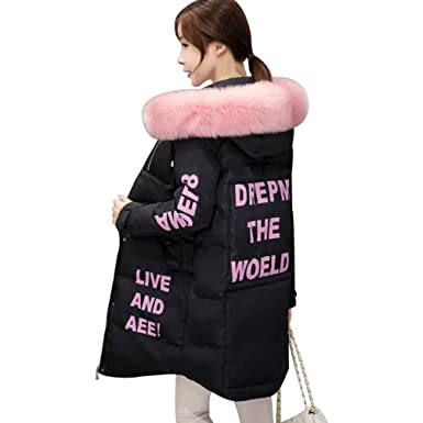 Hooded Coat Fur Collar Warm Long Jacket Female Outerwear Parka Ladies Abrigos Mujer INVIERNO New Black